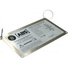 Drošības sistēmas ABS specifikācijas plāksne